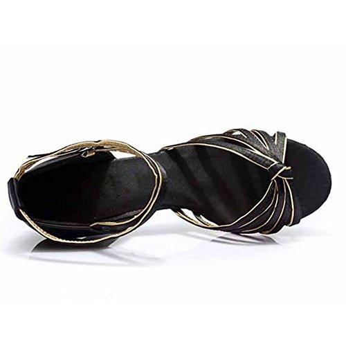 oro ES7 latinos Zapatos Negro 7CM Zapatos HROYL de de satén baile y mujeres F17 OZ6nxpU