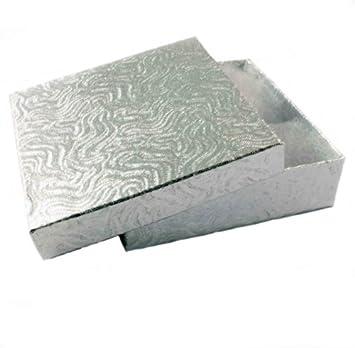 Cajas Regalo x10 Plateadas Con Remolinos Para Tarjetas/ Pulseras con Guata de Algodón & Tapas