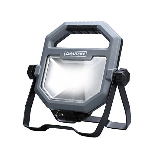 Durapower Portable Work Light Rechargeable 1100 Lumen 15W 15 LED Aluminum Outdoor Floodlight Camping Light, Built-in Lithium Batteries with USB Ports to Charge Mobile Devices ()