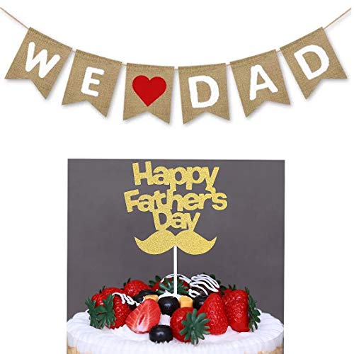 We Love Dad Banner,Happy Father's Day Cake Topper,for Happy Father's Day Decorations Supplies