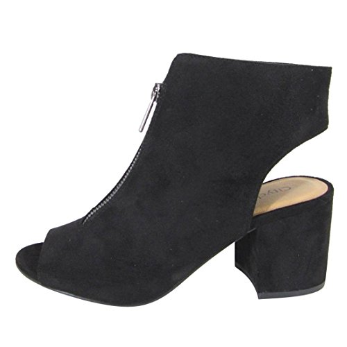 Cityclassified Fl01 Mujeres Front Zip Backless Envuelto Chunky Tacón Tobillo Botines Negro