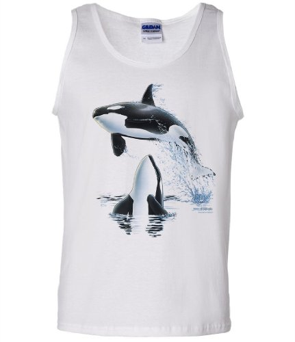 (Dolphin Shirt Co Orca Whale Watching by Royce Tank Top - White Large)