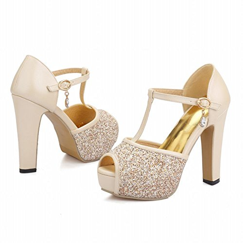 Mee Shoes Damen Peep toe high heels Plateau Pailletten Pumps Aprikose