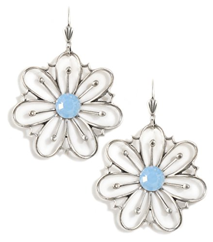 Clara Beau BlueOp Colored Swarovski Glass Crystal Silvertone Flower Earrings EAM147]()