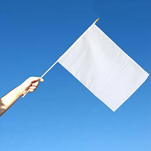 Solid White (Blank) 12x18in Stick Flag