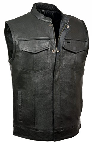 V3710 Club Vest with Front Zipper and open collar design (Leather Zipper Vest)