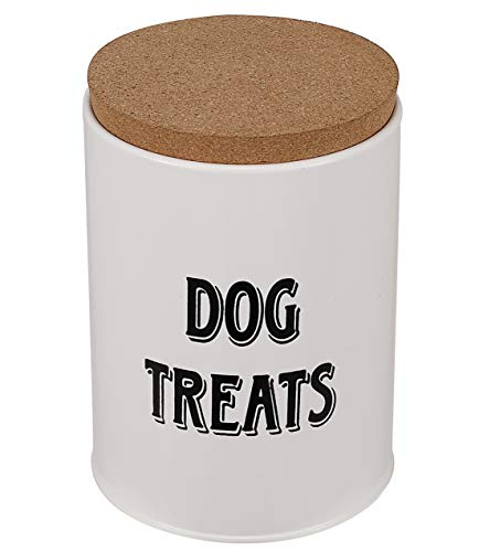 """Pet Dog Treat and Food Storage Tin with Wood Lid - White Powder - Coated Carbon Steel - Tight Fitting Wood Lids - Storage Canister Tins - 4.3"""" Diameter X 5.7"""" deep"""