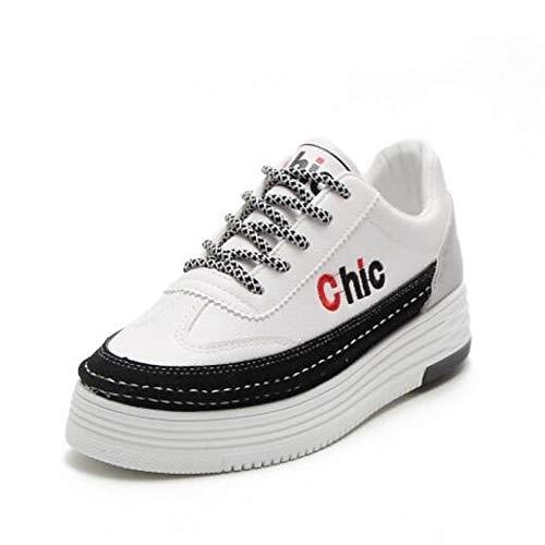 donna Comfort Punta piatto Sneakers Estate Grigio poliuretano Nero Bianco Tacco da PU Primavera Scarpe chiusa Black ZHZNVX wqxCB01w