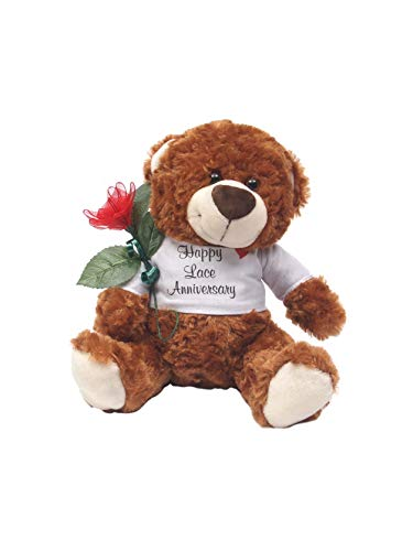 JustPaperRoses Happy 13th Wedding Anniversary Teddy Bear with Lace Rose Gift