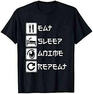 Funny Anime Lover . Eat Sleep Anime Repeat T-shirt | Size S - 5XL
