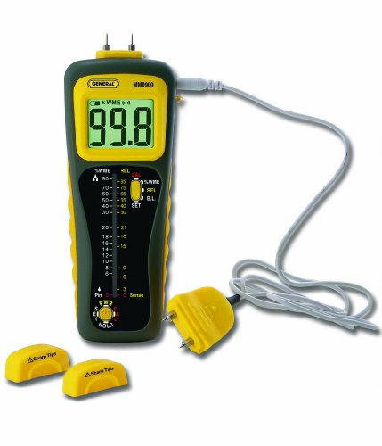 General Tools MMD900 Moisture Meter, Pin Type or Pinless, Deep Sensing with Remote Probe by General Tools