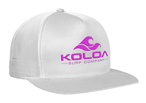 Koloa Surf(TM) Mesh Back Wave Logo Trucker Hat In White/White Neon Pink Logo