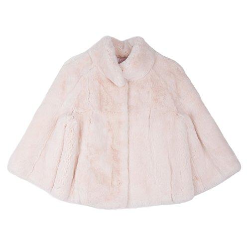 Fur Story Women's Genuine Rabbit Fur Coat Thick Warm Coat 3/4 Sleeve Stand up Collar US4 (Pink) (Genuine Coat 3/4 Rabbit Fur)