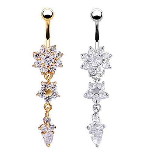 SODIAL 2-Pack Crystal Flower Dangle Navel Belly Button Ring Bar Body Piercing Jewelry