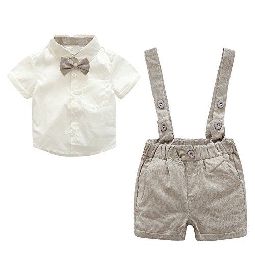 Diamondo 2pcs Baby Kids Toddler Boys Gentlemen Bowknot Shirt Suspender Pants Outfit (Size: 70 Height: 65-75cm Age(Month): (Seventies Love Child Costumes)