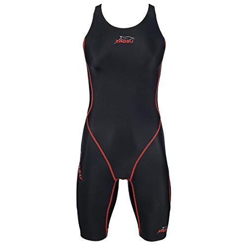 ZAOSU Wettkampf-Schwimmanzug Z-Black Red Line für Damen & Mädchen, Größe:140