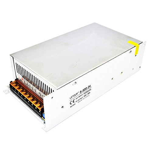 LETOUR 24V 20A Power Supply 500W AC 96V-240V Converter DC 24Volt 20Amp 500Watt Adapter LED Power Supply for LED Lighting,LED Strip,CCTV 20a Ac Adapter