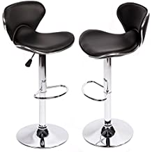 PU Leather Bar Stools Modern Swivel Dinning Kitchen Chair, Set Of 2