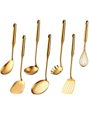 Kitchen Utensil Set -7PCS Gold 18/8(304) Stainless Steel -Wide Spatula,Soup Ladle,Strainer Ladle,Slotted Spatula,Spaghetti Server,Rice Scoop Spoon and Whisk
