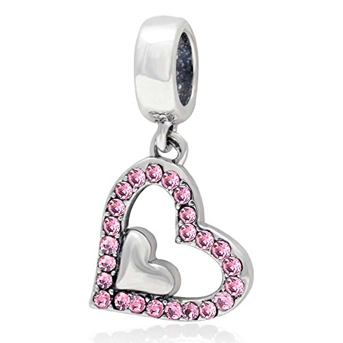 Heart Charm with Crystal Charm 925 Sterling Silver Dangle Charm Love Charm for Pandora Bracelet (Pink)