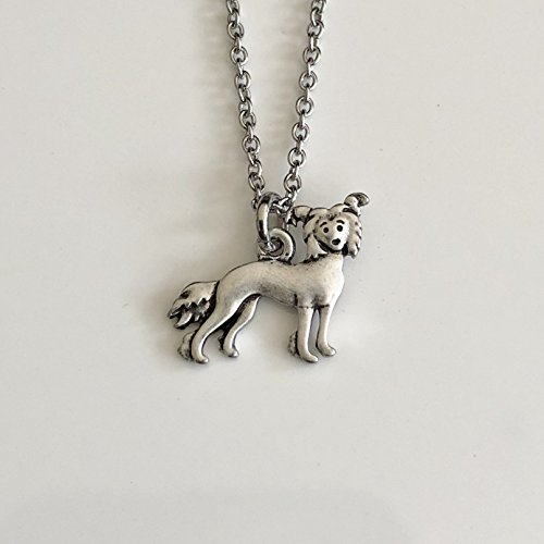 Chinese Crested Dog Necklace - Powder Puff Dog Pendant on Stainless Steel Chain - Dog Mom (Akc Powder)
