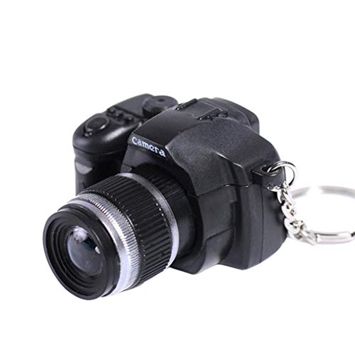 Creazy Mini Toy LED Camera Charm Bag Key Chain With Flash Light Sound Effect Gift Toy (Black)