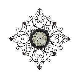 Deco 79 Rustic Metal Scrollwork Wall Clock 2 W x 44 H Black, Distressed White