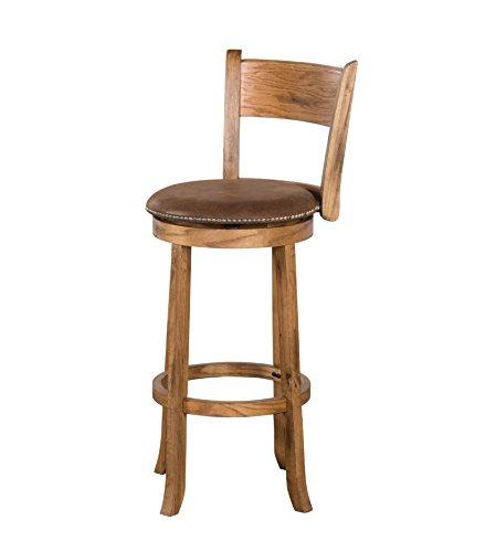 Sunny Designs 1882RO Sedona Swivel Stool with Back, Rustic Oak Finish