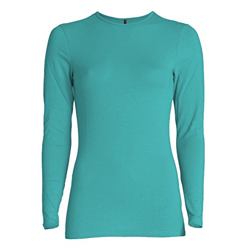 Esteez Long Sleeve Layering T-shirt for Women Snug Fit TURQUOISE Small