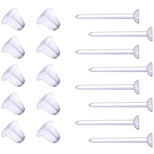 eBoot Plastic Earring Posts and Backs Clear Earring Pins Ear Safety Backs Earnuts Earring Findings, Total 400 (Earnut Earring Posts)