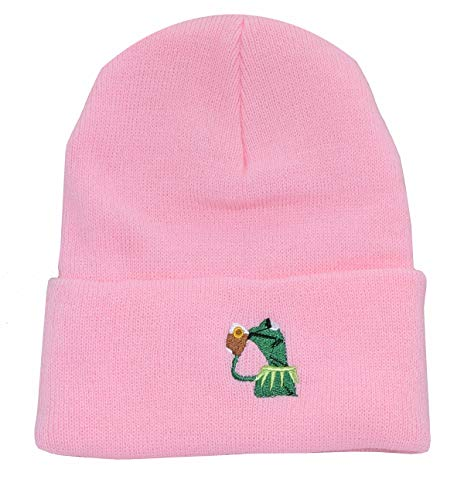 - Winter Kermit The Frog Sipping Tea Beanie Warm Comfortable Soft Oversized Thick Cable Knitted Hat Unisex Knit Caps-Pink