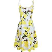 638edfcf5c8a MOOSUNGEEK Women s Floral Print Beach Dress Adjustable Strappy Sleeveless  Summer Swing Dress