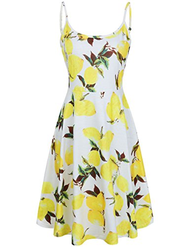 Beach Bum Dress (MOOSUNGEEK Women's Floral Print Beach Dress Adjustable Strappy Sleeveless Summer Swing Dress Yellow Flower)