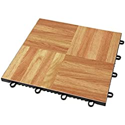 "IncStores - Modular Grid - Loc Dance and Garage Flooring 12"" x 12"" Tiles Sold Individually (Oak)"