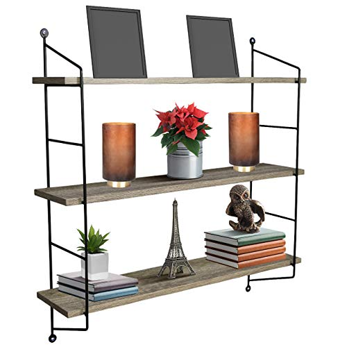 Sorbus Floating Shelf with Metal Brackets - Wall Mounted Rustic Wood Wall Storage, Decorative Hanging Display for Trophy, Photo Frames, Collectibles, and Much More (3-Tier - Grey)