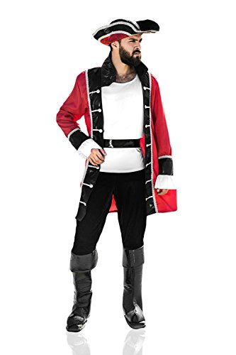 Adult Men Pirate Halloween Costume Captain Morgan Buccaneer Dress Up & Role Play (One Size - Fits All, Red, white, black, (Male Costume Halloween)
