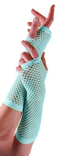 Adults Short & Long Fingerless Fisnet Gloves Raves Parties 1980s Fancy Dress - Pick & Mix (Light Blue- (Fancy Dress 1980s Ideas)