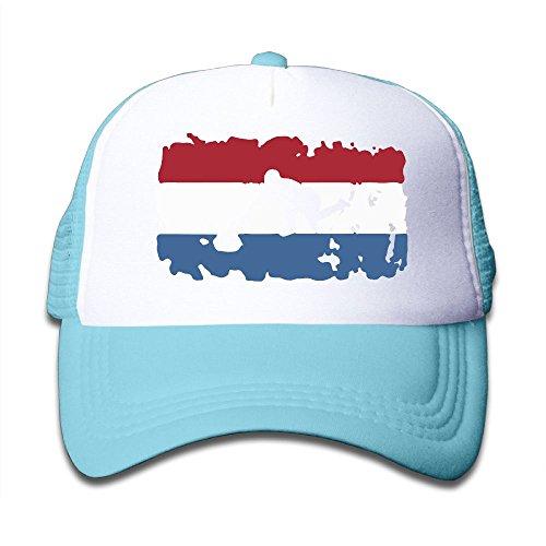 BOYGIRL-CAP Dutch Flag Curling Kids Girls Boys Adjustable Mesh Cap Trucker Hat Trucker Hat