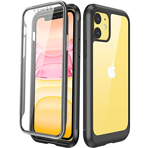 Miracase Compatible with iPhone 11 Case, Full Body Clear Design Built-in Screen Protector Shockproof Scatch Resistant Heavy Duty Protection Case Compatiable with iPhone 11 Case 6.1 inch 2019, Black