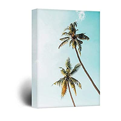 Canvas Wall Art - Retro Style Tall Palm Trees Under The Sky - Giclee Print Gallery Wrap Modern Home Art Ready to Hang - 16x24 inches