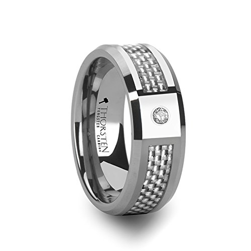 ROYCE Tungsten Carbide Wedding Band with White Carbon Fiber Inlay and White Diamond Setting with Polished Beveled Edges Comfort Fit Lightweight Durable Wedding Band - 8mm by Thorsten Rings (Lightweight White Ring)