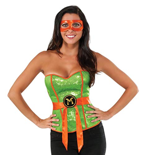 Rubie's Women's TMNT Classic Costume Sequined Michelangelo Corset, Green, Large]()