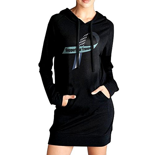 PINPINTA Womens Sweatshirt Hoodie Dress Support Our Troops Ribbon Causal Hoodie Dress