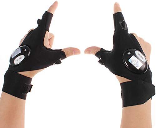 指なしLEDフラッシュライトグローブ アウトドアナイトフィッシンググローブ LEDライト2個付き レスキューツール 防水LED 指2本 グローブライト ナイトアクティビティ用 ブラック
