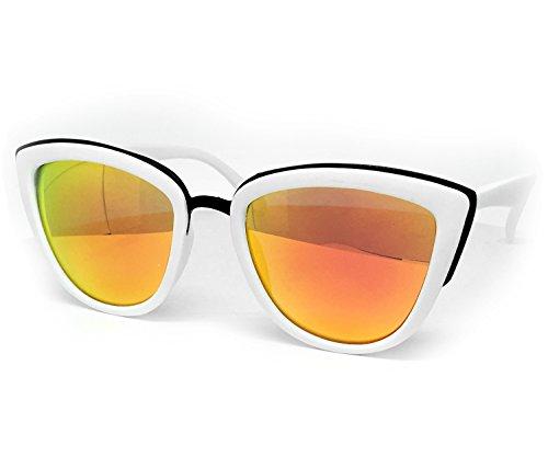 O2 Eyewear 6009 Premium Retro Cats eye Funky Fashion Mirror Revo Candy Flat Metal Aviator Sunglasses (Cats eye, WHITE/ROSE - Sunglasses 6009