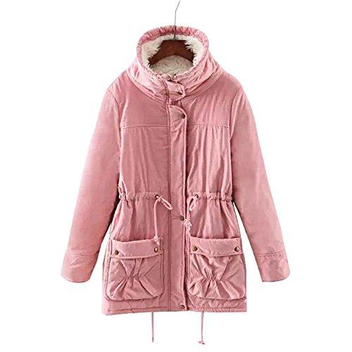 invierno de Rosa de invierno piel de de abrigo las de lana con capucha chaqueta cálido sintética mujeres de Abrigo qIZw68UI