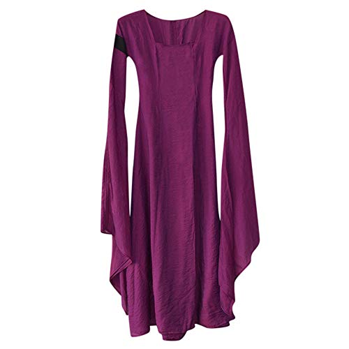 LOKODO Women Fall Winter Medieval Gothic Retro Solid Long Sleeve Ball Gowns Maxi Dress Cosplay Costumes for Women Purple 2XL