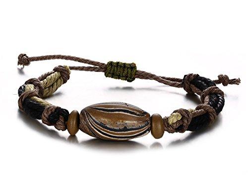 Ceramic Bead Braided Rope Bracelet,Length Adjustable (Bracelet American Pearl Pearl)