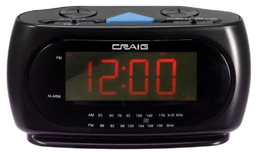 Craig LED Alarm Clock with AM/FM Radio 1.2-Inch Display, Bla