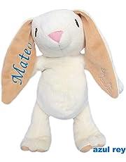 DouDou Conejo de Peluche Blanco Personalizado con el nombre bordado de tu bebé , sin aplicaciones plásticas, detalles bordados, 27cm de largo. Incluye bolsa de tela. #ELCONEJOMASTIERNO